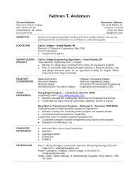 Cover Letter Example Resume For College Students Example Resume