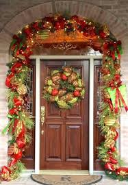 ribbon decorating ideas front door decor ideas with red ribbon garland and wooden door plus mesh ribbon decorating ideas