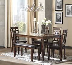 Ashley Furniture Bennox Brown Finish 6 Pc Dining Table Side Chairs And  Bench Set