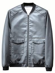 men s synthetic leather jacket stand collar zipper opening pockets vintage jacket share
