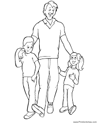 Small Picture Fathers Day Coloring Page Dad with kids