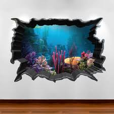 3d Wall Art Finding Nemo Aquarium 3d Wall Art Sticker Decal Boy Girl
