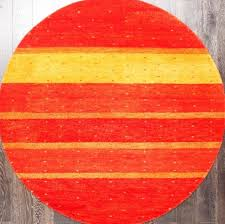 rugsville contemporary modern stripes orange gold wool round rug 180 x 180