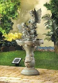 solar garden statues fairy solar powered cascading birdbath water fountain solar garden statue boy with flashlight