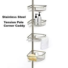 rust proof stainless steel tension shower caddy tension stainless steel tension pole shower caddy rust proof