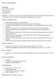 Sample Resume For College English Instructor customer service