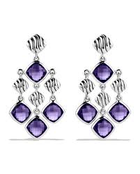 david yurman sculpted cable chandelier earrings with amethyst in silver