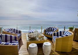 blue garden stool. View In Gallery Stunning Deck With Ocean Views Showcases Twin Chinese Garden Stools White Blue Stool