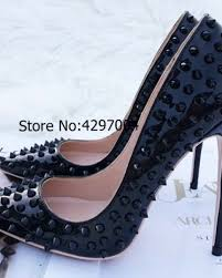 vinapobo latest studded black patent leather pumps las stis high heels spikes pointy toe party wedding