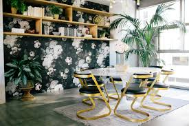 dwell studio furniture. Dark Floral Wallpaper Accent Wall Creative Collective Office Dwell Studio Furniture