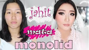tutorial jahit mata monolid makeup mata sipit