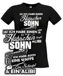 T Shirt Frauen Habe Hübschen Sohn Waffe Schaufel Alibi Mutter Mama