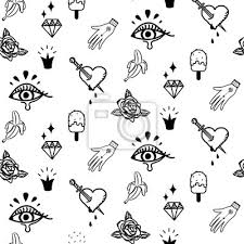 Fototapeta Doodle Hipster Flash Tetování Bezproblémové Vektorové Vzoru