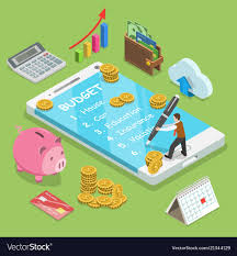 online family budget online family budget flat isometric concept
