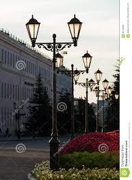 Small Street Light Old Iron Street Lamps On A Small Street Stock Photo Image