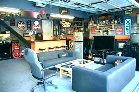 Sports man cave Crazy Man Cave Ideas Best On Bar Pictures Decorating Sports Pinterest Cool Garage You Wartaoneco Large Sports Themed Man Cave With Jerseys On The Wall And Displayed