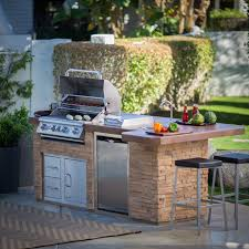 Bull BBQ Junior Gourmet Q Complete BBQ Island comes standard with a 30 Inch  Built In Gas Grill Single Access Door with Lock and Key Refrigerator an