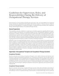 Occupational Therapist Job Description Guidelines For Supervision Roles And Responsibilities During The 5