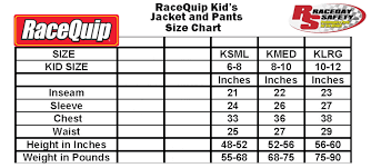 Racequip Kids Jacket And Pant Size Chart