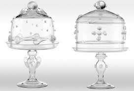 high and low cake stands and glass domes