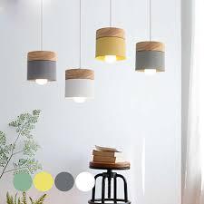 Japan <b>Wooden Led Pendant</b> Light Fixture <b>Modern</b> Metal Rod ...