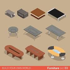 Office Furniture Set 40 Table Living Meeting Room Element Flat Unique Office Furniture World Creative
