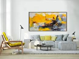palette knife painting original horizontal wall art abstract art canvas painting large art on yellow and grey wall art canvas with palette knife painting original horizontal wall art abstract art