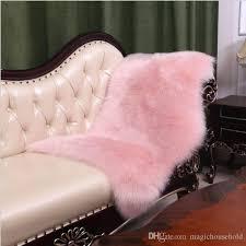 free ship white long plush australia faux wool sofa carpet bedroom full carpet bedsides soft floor foot pad sheepskin shape pink grey rug dealer carpet