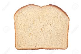 A Single Slice Of White Bread Isolated On White Stock Photo