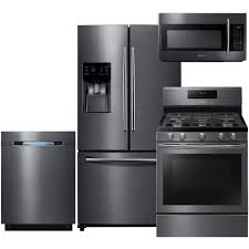 French Door french door range photographs : 4-Piece Black Stainless Steel Kitchen Package with RF263BEAESG 36 ...