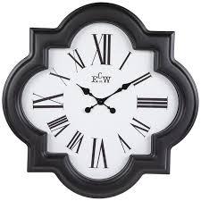 black white quatrefoil wall clock