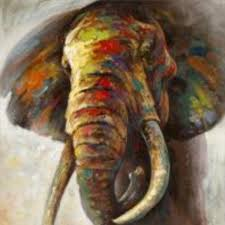 decorative art handmade oil elephant painting canvas wall paintings abstract