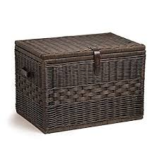 wicker storage chest. Interesting Wicker The Basket Lady Deep Wicker Storage Trunk  Chest XL  Antique Walnut On Chest T