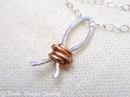 Fish Wire Designs Christian Necklace Sterling Silver And Copper Ichthus