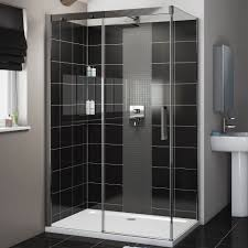 Cooke & Lewis Carmony Rectangular LH Shower Enclosure, Tray & Waste Pack  with Single Sliding Soft Close Door (W)1200mm (D)800mm | Departments | DIY  at B&Q.