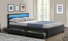 king size bed with storage drawers. Modren Bed Double King Size Bed Frame With 4 Drawers Storage LED Headboard And  Mattress New With G
