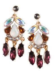 plum crystal rhinestone chandelier earrings