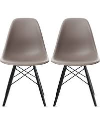 L Modern Plastic Eiffel Chairs Dining Chair Set Of 2 Grey