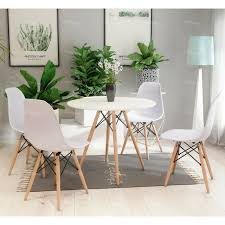dining table 80cm round 4 chairs wooden legs modern coffee bar kitchen table