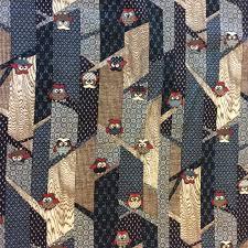 Asian Owls Birds Modern Sevenberry Japanese Patchwork Forest Trees ... & Asian Owls Birds Modern Sevenberry Japanese Patchwork Forest Trees Cotton Quilt  Fabric TP013 Adamdwight.com