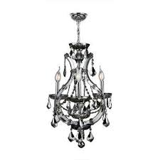 lyre 4 light chrome with smoke crystal mini chandelier