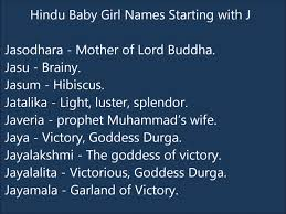 Girl baby names starting with j