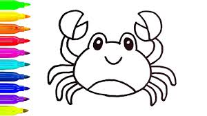 How to Draw Colorful Crab Coloring Pages Animals for Kids | Art ...