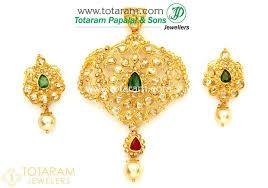 22k gold uncut diamond pendant drop earrings set with ruby emerald south sea