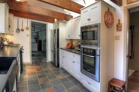Amazing White Country Galley Kitchen With Galley White Country