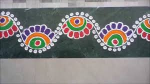 Side Rangoli Designs For Diwali Colorful Border Rangoli Design Rangoli En 2019 Rangoli