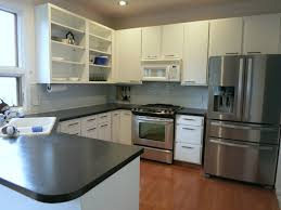 sophisticated impressive laminate floor and stainless painting formica cabinets with covering formica countertops