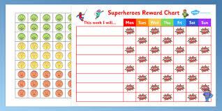 Behaviour Chart For Boys Superheroes Reward Sticker Chart