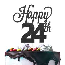 24th Happy Birthday Cake Topper Premium Double Sided Black Glitter Cardstock Paper Party Decoration 6 X 8 Twenty Fourth 24 Years Old Bday