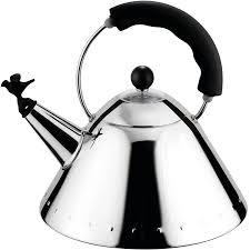 alessi b black michael graves tea kettle w bird whistle